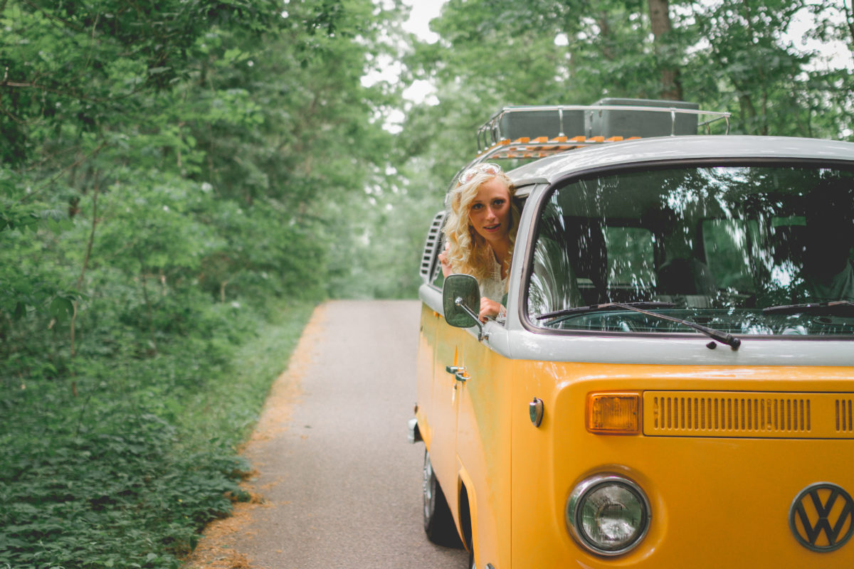 Photo booth bus | west Michigan event | vintage | bohemian wedding | hippie style | 77 Kombi | air cooled | Michigan photographer